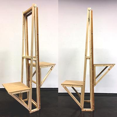 Ruimtelijke installatie - workshop op Sint Joost. Hier hebben wij met een groep studenten een stoel gemaakt waarbij twee mensen altijd een balans zullen moeten vinden.