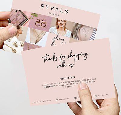 Ravals - een sieraden webshop wat met een bedank-kaart haar online doelgroep vergroot.
